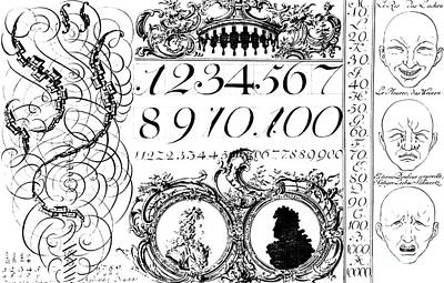 Flourish Drawing - Learning Mathematics, Illustration From A Franco-german Book, Early 18th Century by French School
