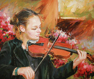 Music Paintings - Learning The Violin by Conor McGuire