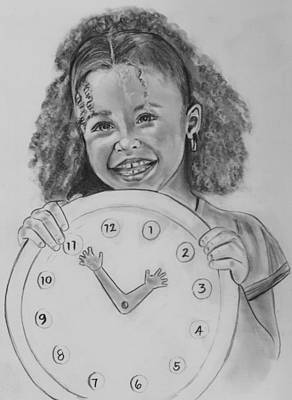 Drawing - Learning To Tell Time by Barb Baker