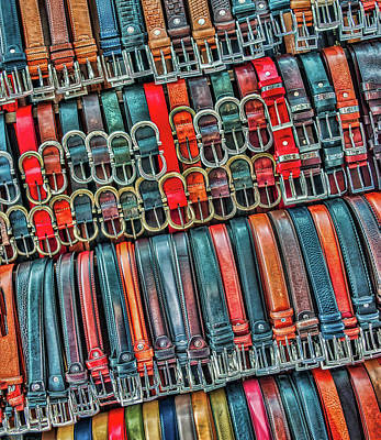 Photograph - Leatheer Belts At Florence Market by Gary Slawsky