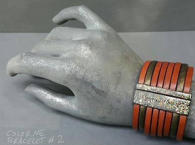 Jewelry - Leather And Enamel Bracelet Grey, Green, White, Red,  Tan, Yellow by Brenda Berdnik