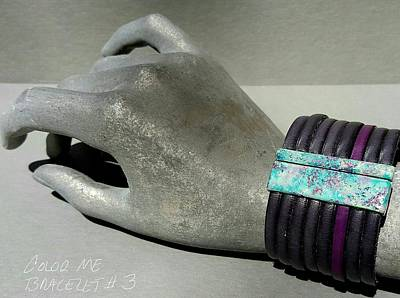 Jewelry - Leather And Enamel Bracelet Teal, Blue, Purple, Lavender, White by Brenda Berdnik