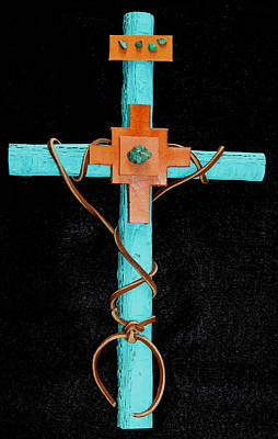 Mixed Media - Leather And Stone Cross by M Diane Bonaparte