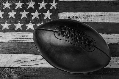 Photograph - Leather Football On Flag Black And White by Garry Gay