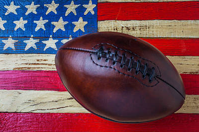 Photograph - Leather Football On Flag by Garry Gay
