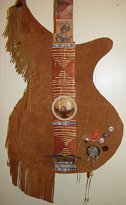 Re-purposed Mixed Media - Leather Guitar by Lorraine Stone