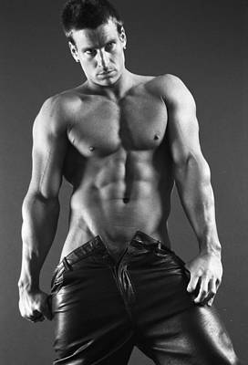 Fitness Model Photograph - Leather Lothario by Thomas Mitchell