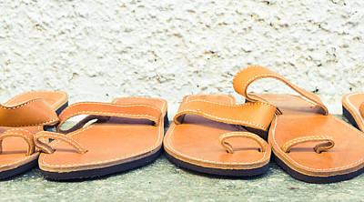 Leather Sandals Art Print by Tom Gowanlock