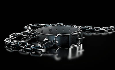 Collar Digital Art - Leather Studded Collar And Chain by Allan Swart