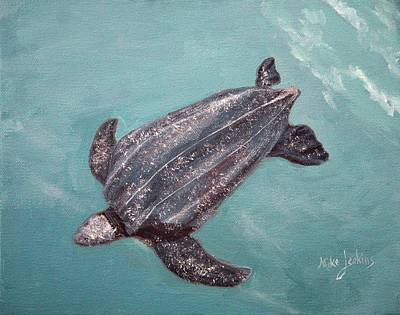 Painting - Leatherback Turtle Study by Mike Jenkins