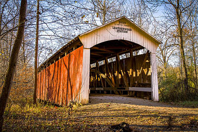 Photograph - Leatherwood Station Covered Bridge by Jack R Perry