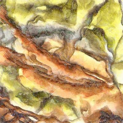 Painting - Leaves And Petals Autumn Abstract Watercolor by Tracey Harrington-Simpson