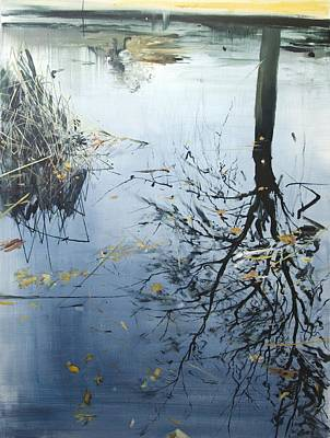 Reflecting Water Painting - Leaves And Reeds On Tree Reflection by Calum McClure