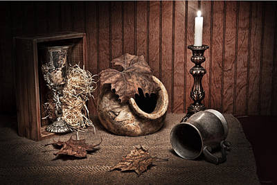 Pottery Photograph - Leaves And Vessels By Candlelight by Tom Mc Nemar