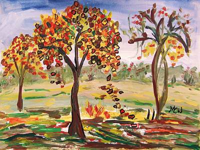 Warm Tones Drawing - Leaves Are Falling by Mary Carol Williams