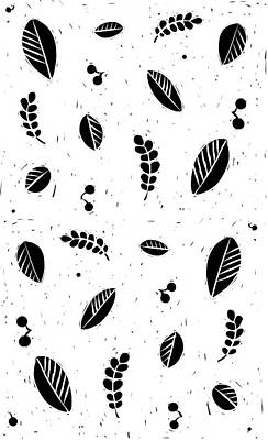 Lino Digital Art - Leaves B/w by Kathryn Humphrey