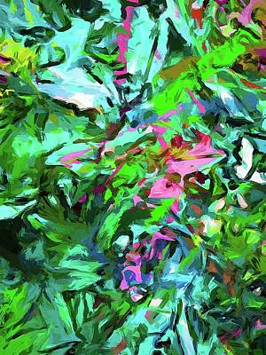 Digital Art - Leaves Buds Green Pink by Jackie VanO