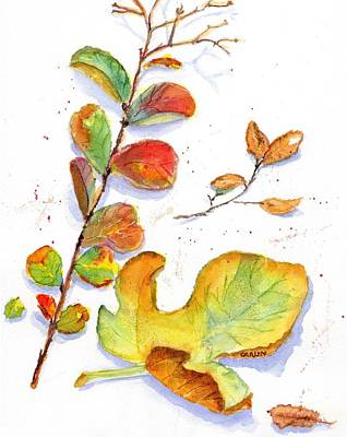 Painting - Leaves - Colorful Watercolor by Carlin Blahnik CarlinArtWatercolor