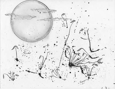 Drawing - Leaves In Blown Ink by Dan Twyman