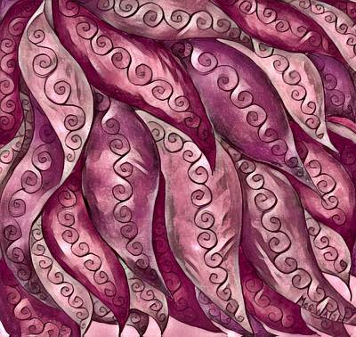 Digital Art - Leaves In Mauve Tones by Megan Walsh