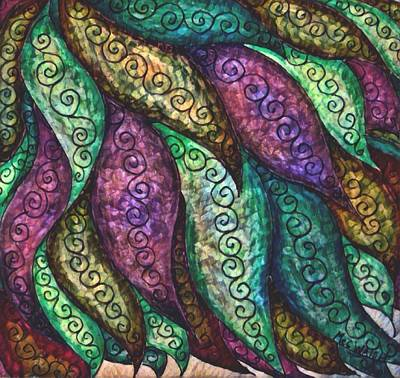 Digital Art - Leaves In Metallic Jewel Tones by Megan Walsh