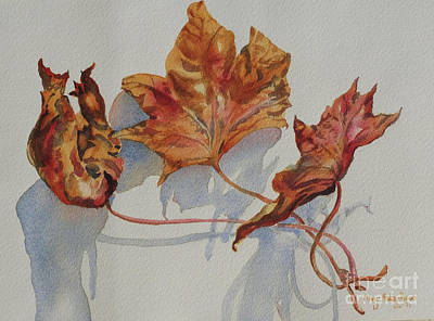 Art Print featuring the painting Leaves Of Fall by Mary Haley-Rocks