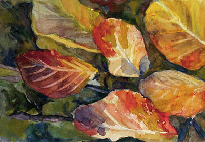 Wall Art - Painting - Leaves On A Pond by Elissa Poma