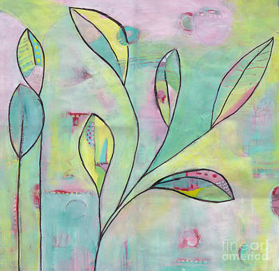 Painting - Leaves On Abstract Background by Patricia Cleasby