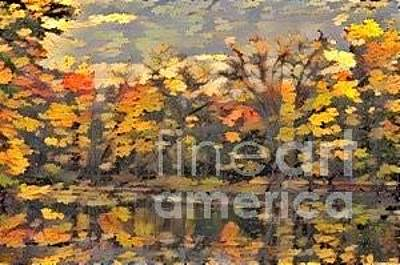 Woodlands Scene Mixed Media - Leaves On The Pond by Douglas Sacha