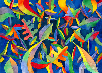 Painting - Leaves On Water Abstract by Kristen Fox