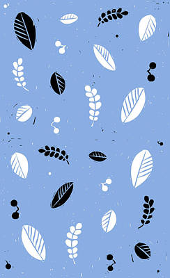 Lino Digital Art - Leaves - Peri B/w by Kathryn Humphrey