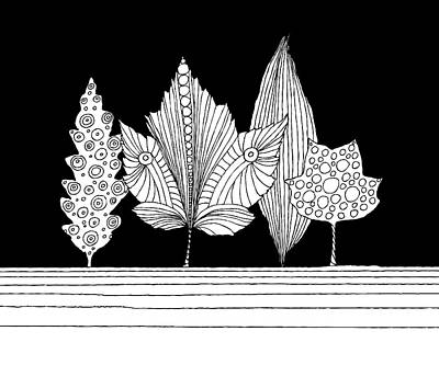 Drawing - Leaves under black sky by Neringa Barmute