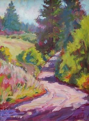 Impressionistic Vineyard Painting - Leaving Chatteau Lorane by Margaret  Plumb
