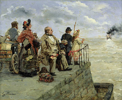 Immigrant Painting - Leaving For Jersey  by Guillaume Romain Fouace
