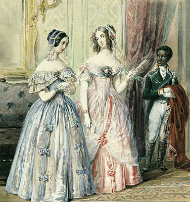 Slaves Drawing - Leaving For The Ball by Alexandre-Marie Colin