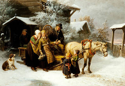Winter Landscape Painting - Leaving Home  by Bengt Nordenberg