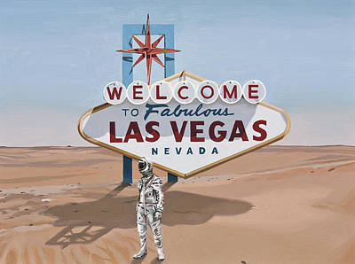 Astronaut Painting - Leaving Las Vegas by Scott Listfield