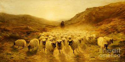 Leaving The Hills, 1874 Art Print by Joseph Farquharson