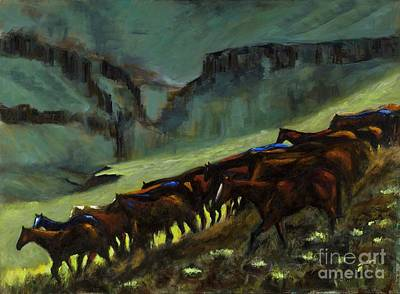 Herd Of Horses Painting - Leaving The Mesa by Frances Marino