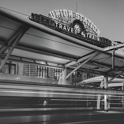 Photograph - Leaving Union Station - Denver Colorado - Bw Square Format by Gregory Ballos