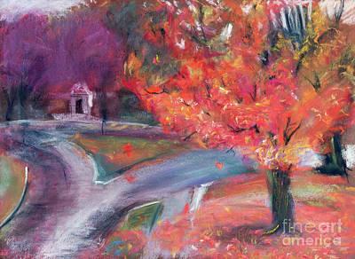 Drawing - Lebanon New Hampshire Downtown Fall Foliage by Edward Fielding