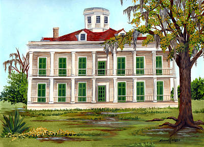 Spanish Moss Painting - Lebeau Plantation Front View by Elaine Hodges