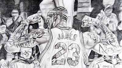 Lebron Drawing - Lebron James #1 by David Martin