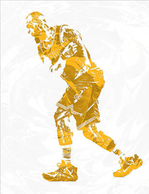 Lebron Mixed Media - Lebron James Cleveland Cavaliers Pixel Art 13 by Joe Hamilton