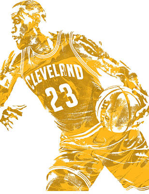 Mixed Media - Lebron James Cleveland Cavaliers Pixel Art 20 by Joe Hamilton