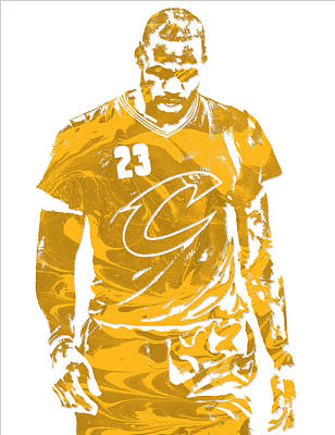 Mixed Media - Lebron James Cleveland Cavaliers Pixel Art 21 by Joe Hamilton