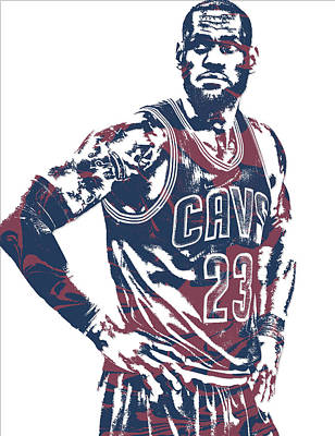 Mixed Media - Lebron James Cleveland Cavaliers Pixel Art 25 by Joe Hamilton