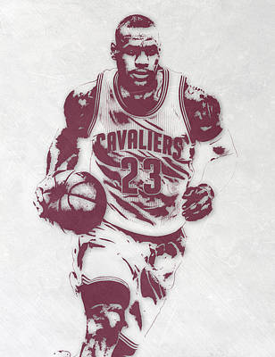 Lebron James Mixed Media - Lebron James Cleveland Cavaliers Pixel Art 4 by Joe Hamilton