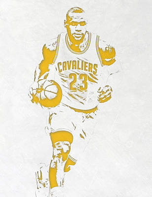 Lebron James Wall Art - Mixed Media - Lebron James Cleveland Cavaliers Pixel Art 5 by Joe Hamilton