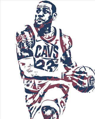 Lebron James Wall Art - Mixed Media - Lebron James Cleveland Cavaliers Pixel Art 50 by Joe Hamilton